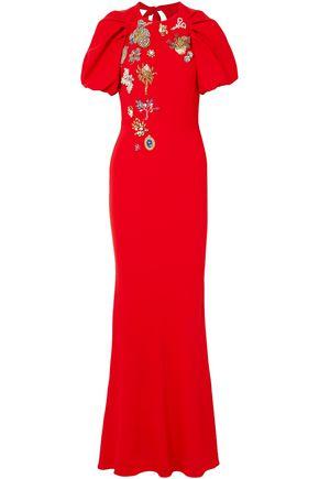 ALEXANDER MCQUEEN Embellished cutout crepe maxi dress