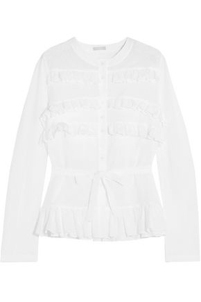 ALAÏA Ruffled Swiss-dot cotton blouse