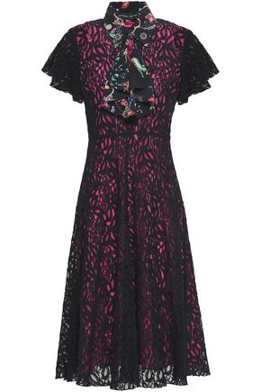 ETRO Printed crepe de chine-trimmed lace midi dress