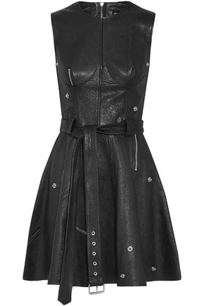 ALEXANDER MCQUEEN Zip-embellished textured-leather mini dress