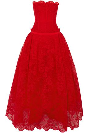 ALEXANDER MCQUEEN Strapless cotton corded lace gown