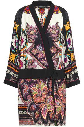 ETRO Printed satin-jacquard wrap dress