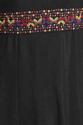 エトロ 刺繍入り カットアウト シルク ロングドレス