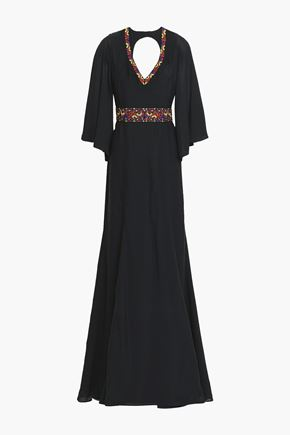 ETRO Open-back embellished silk crepe de chine gown