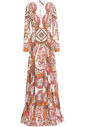 ETRO Pleated printed crepe de chine maxi dress