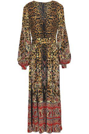 ETRO Pleated leopard-print crepe midi dress