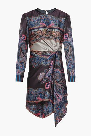ETRO Gathered printed hammered silk-satin mini dress