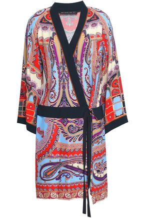 ETRO Printed crepe de chine mini wrap dress