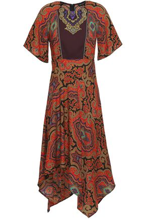 ETRO Embroidered printed wool-twill midi dress
