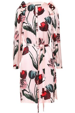 MOTHER OF PEARL Isabella faux pearl-embellished floral-print silk-satin dress