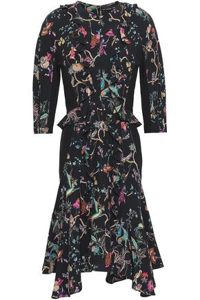 ETRO Paneled printed silk crepe de chine dress