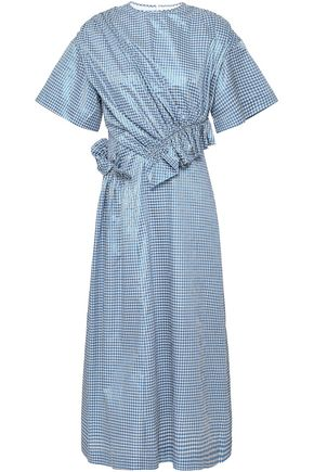 MOTHER OF PEARL Thelma ruched gingham metallic jacquard midi dress