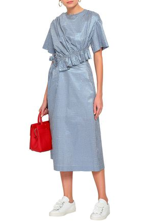 53c2ddee80d7 MOTHER OF PEARL Thelma ruched gingham metallic jacquard midi dress