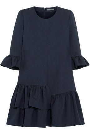 ALEXANDER MCQUEEN Ruffled wool-blend mini dress