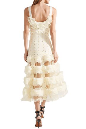 ALEXANDER MCQUEEN Studded ruffled stretch-knit midi dress