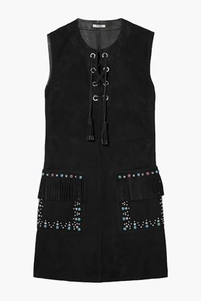 MIU MIU Lace-up embellished suede mini dress