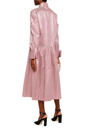 CHRISTOPHER KANE Metallic gingham jacquard midi shirt dress