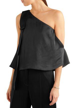STELLA McCARTNEY One-shoulder crepe-satin top