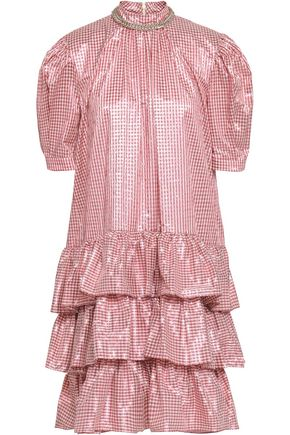 CHRISTOPHER KANE Metallic tiered gingham jacquard mini dress