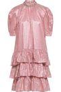 CHRISTOPHER KANE Metallic tiered gingham jacquard mini dress