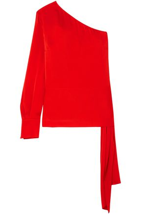 STELLA McCARTNEY One-shoulder draped satin-crepe top