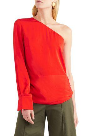 STELLA McCARTNEY One-shoulder draped satin-crepe top