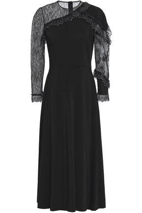 CHRISTOPHER KANE Lace-paneled crepe midi dress