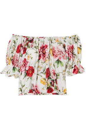 DOLCE & GABBANA Off-the-shoulder floral-print cotton-poplin top