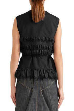 ALAÏA Ruffled cotton-poplin top
