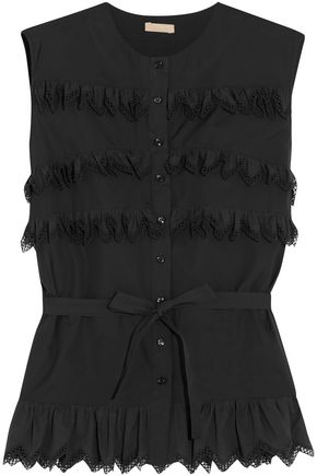 ALAÏA Ruffled cotton-poplin top