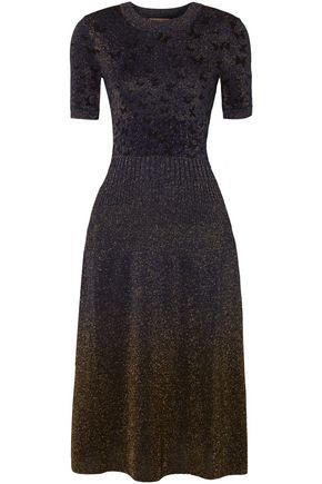 BOTTEGA VENETA Butterfly metallic jacquard-knit midi dress