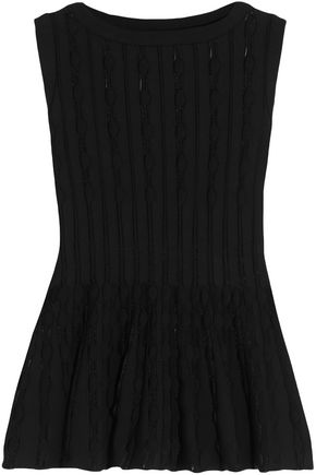 ALAÏA Open-knit peplum top