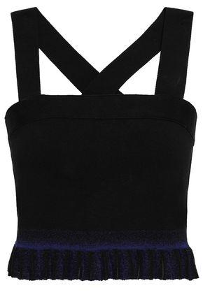 DEREK LAM 10 CROSBY Cropped plissé-trimmed stretch-ponte top