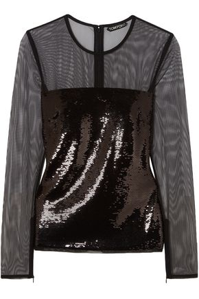 TOM FORD Tulle-paneled sequined top