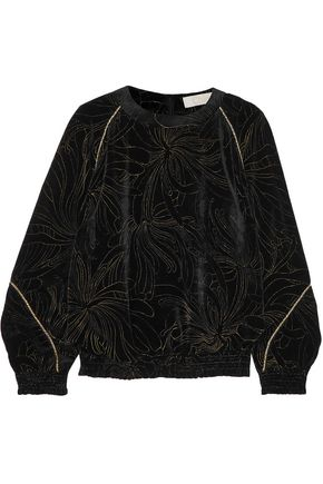 CHLOÉ Metallic embroidered velvet top