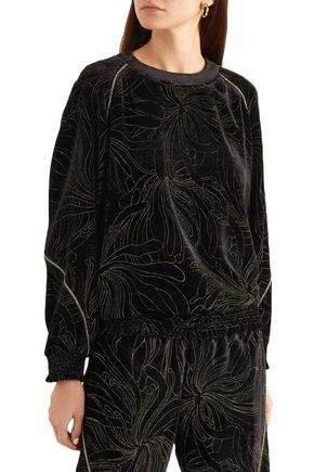 CHLOÉ Smocked printed velvet sweatshirt