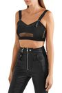 ALEXANDER MCQUEEN Lace-paneled stretch-knit bra top
