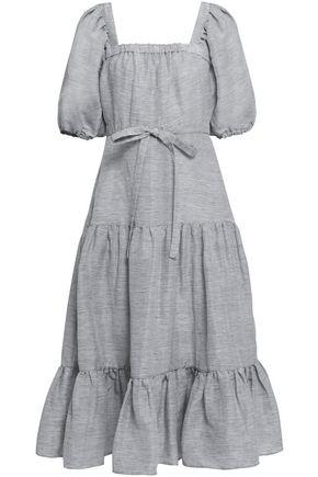 CO Striped linen and silk-blend midi dress