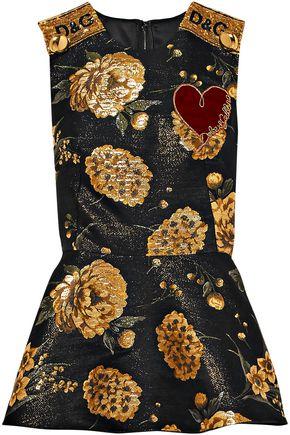 DOLCE & GABBANA Embellished jacquard peplum top