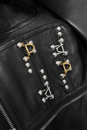 ALEXANDER MCQUEEN Cold-shoulder embellished two-tone leather top