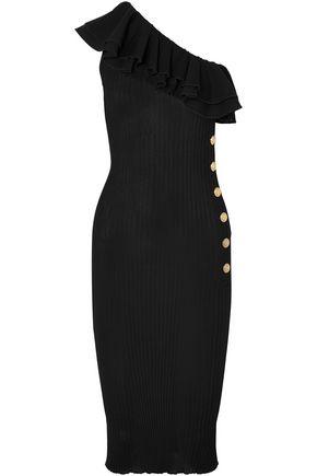 BALMAIN One-shoulder ruffled ribbed-knit midi dress