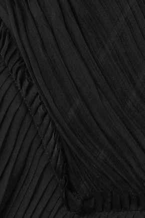 ALEXANDER MCQUEEN One-shoulder pleated silk top