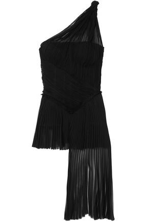 ALEXANDER MCQUEEN One-shoulder pleated silk top