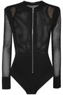 BALMAIN Open-knit and stretch-jersey bodysuit