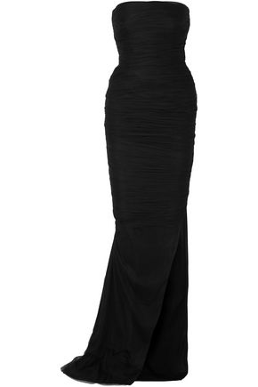 TOM FORD Strapless ruched silk gown