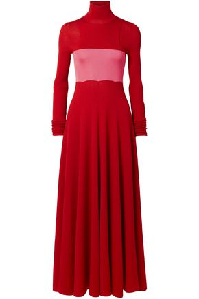 CALVIN KLEIN 205W39NYC Two-tone silk and wool-blend turtleneck maxi dress