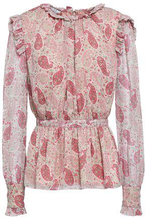 CO Printed silk-crepon peplum blouse