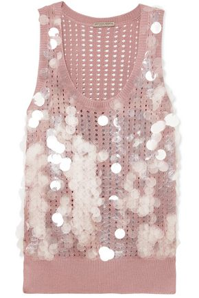 BOTTEGA VENETA Embellished pointelle-knit silk top