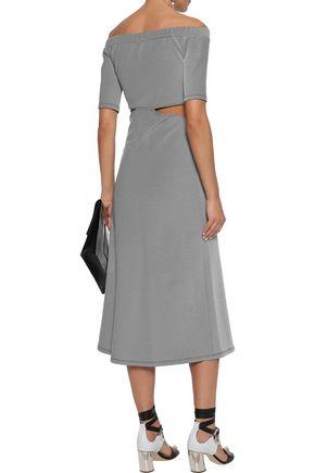 SID NEIGUM Off-the-shoulder cutout twist-front striped cotton-blend midi dress