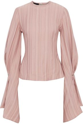 SID NEIGUM Striped satin-jacquard blouse